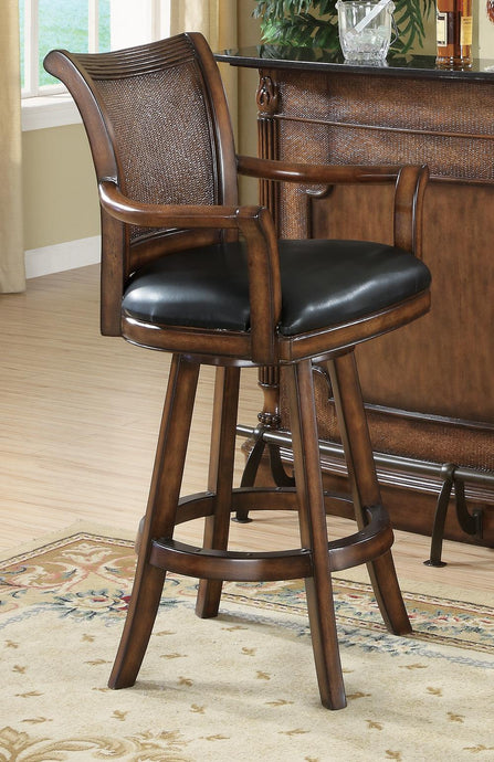 Coaster Brown Bar Stool with Faux Wicker Back Leather Seat
