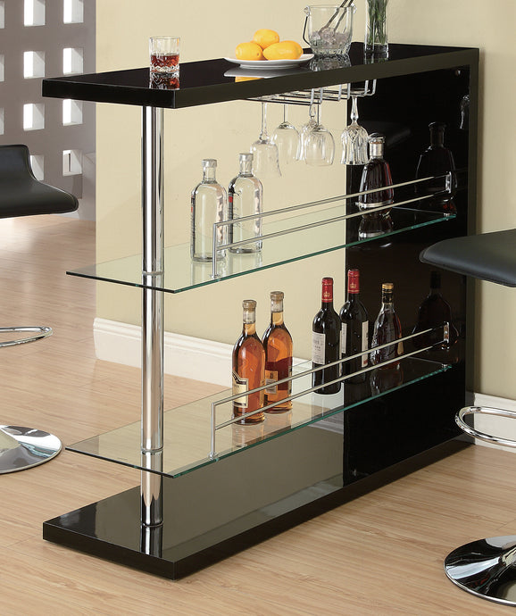 Coaster Black High Golss Bar Table with 2 Glass Shelves