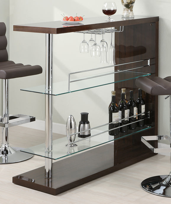 Coaster Cappuccino High Golss Bar Table with 2 Glass Shelves