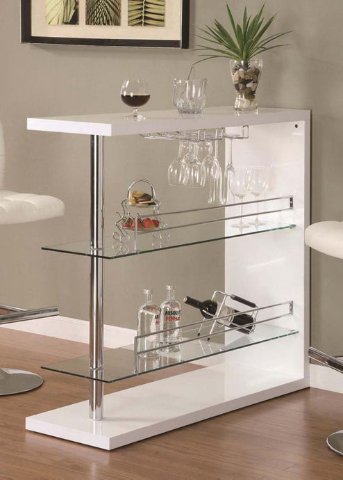 Coaster White High Golss Bar Table with 2 Glass Shelves