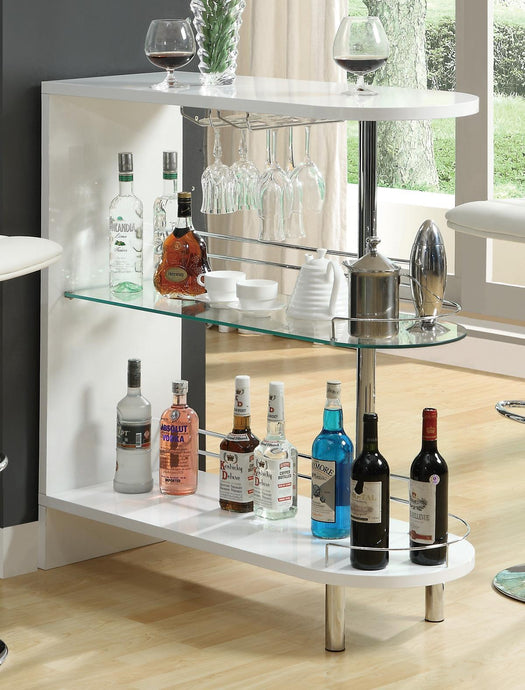 White High Gloss Bar Table with Glass Shelf