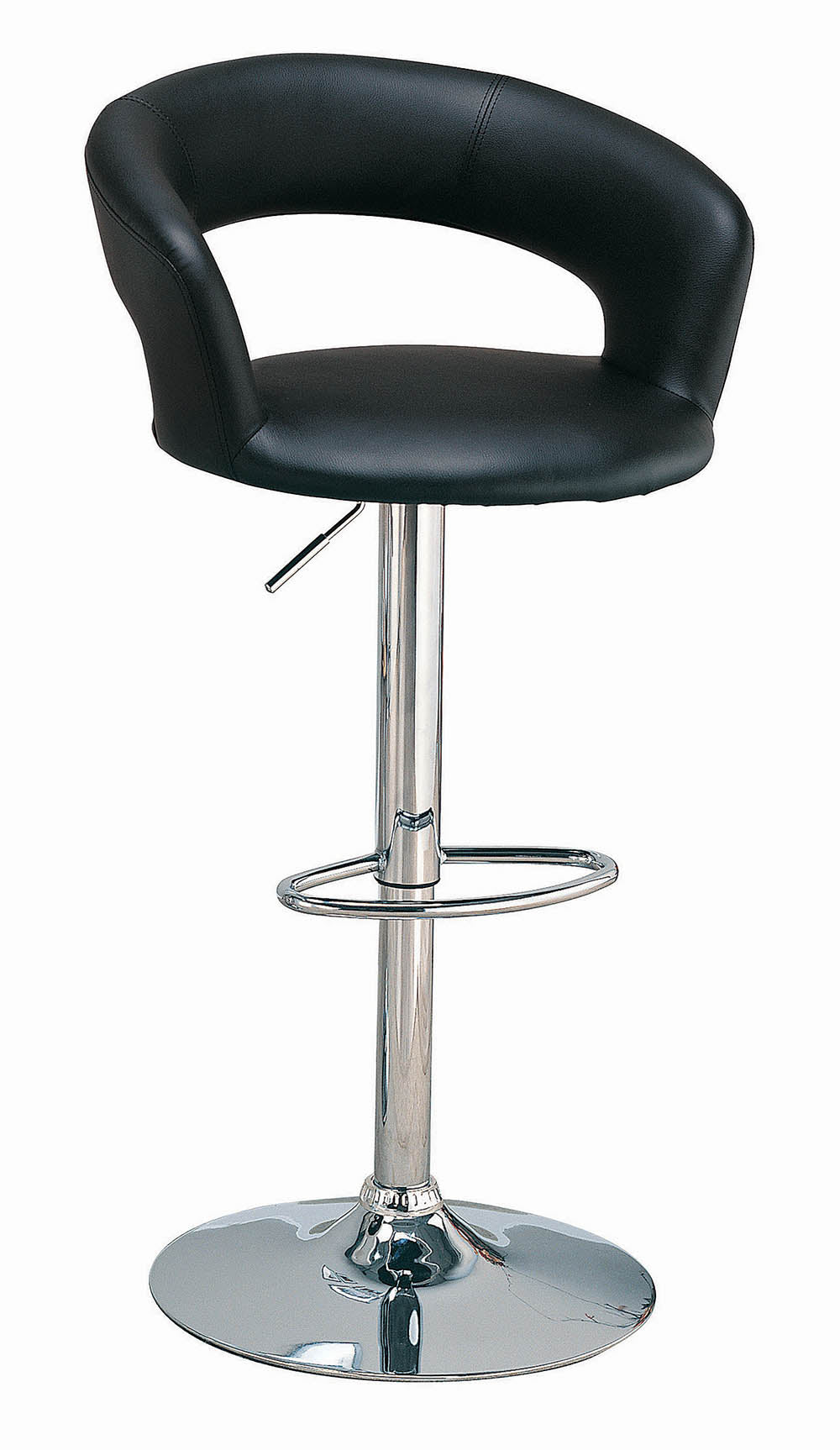 Coaster Adjustable Black Upholstered Chrome Base Bar Stool