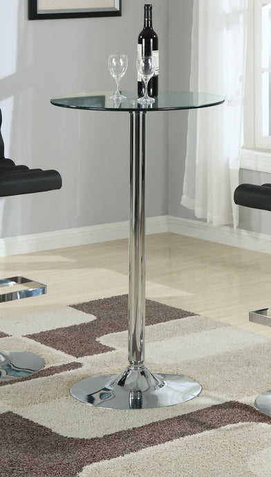 Round Glass Top Chrome Base Bar Table