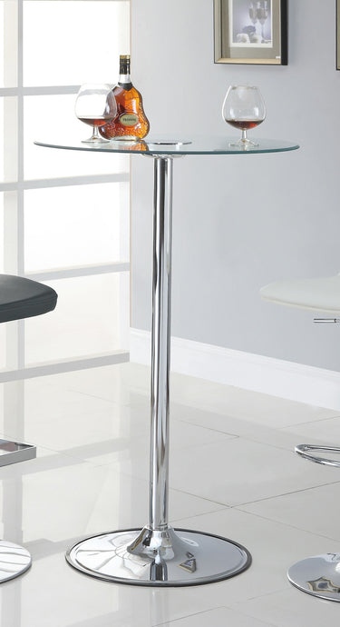 Coaster Glass Top Transitioning LED Chrome Base Bar Table