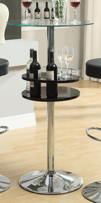 Round Tempered Glass Top Chrome Base Storage Bar Table