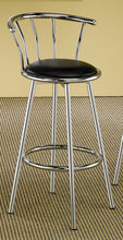 Load image into Gallery viewer, Chrome Plated Balck Upholstered Seat Bar Stool