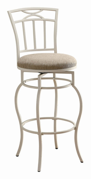 Inch Upholstered Seat White Metal Bar Stool