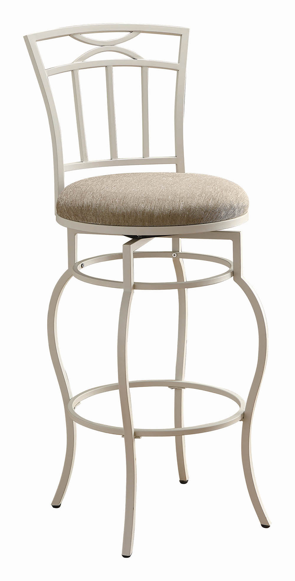 Coaster 29 Inch Upholstered Seat White Metal Bar Stool