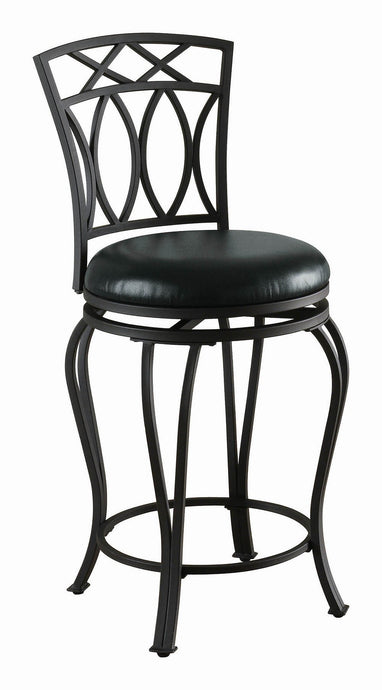 Inch Upholstered Black Curved Metal Counter Height Stool