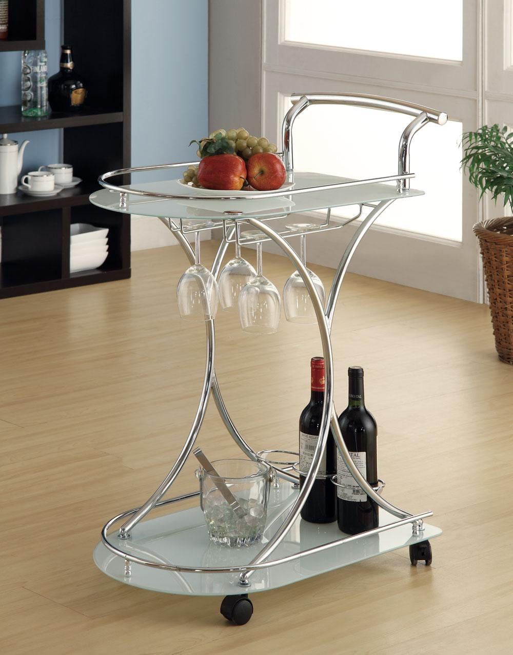 Coaster Serving Cart with 2 Frosted Glass Shelves