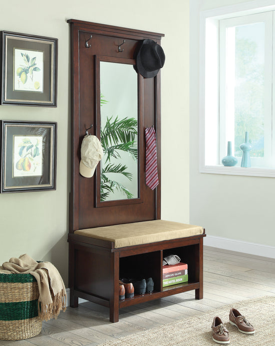 Coaster Raw Umber Hall Tree with Mirror
