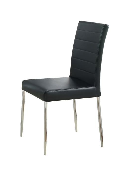 Coaster Black Vinyl Seat Back Dining Side Chair Set of 4