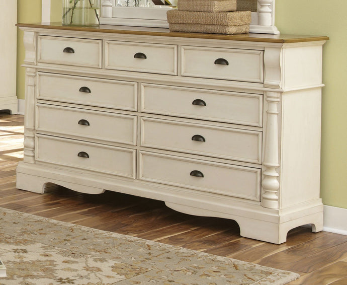 Oleta Oak and Buttermilk Drawers Dresser with Bract Feet