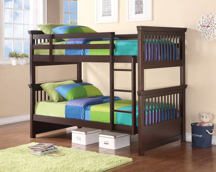 Homy Living Oliver Cappuccino Wood Finish Twin Over Twin Bunk Bed