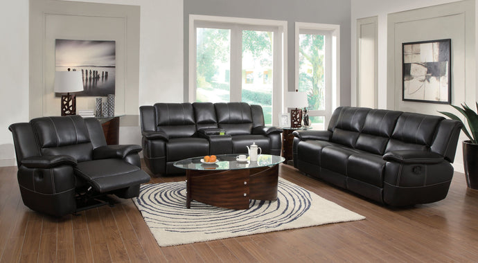 Lee Black Transitional Motion Sofa Set