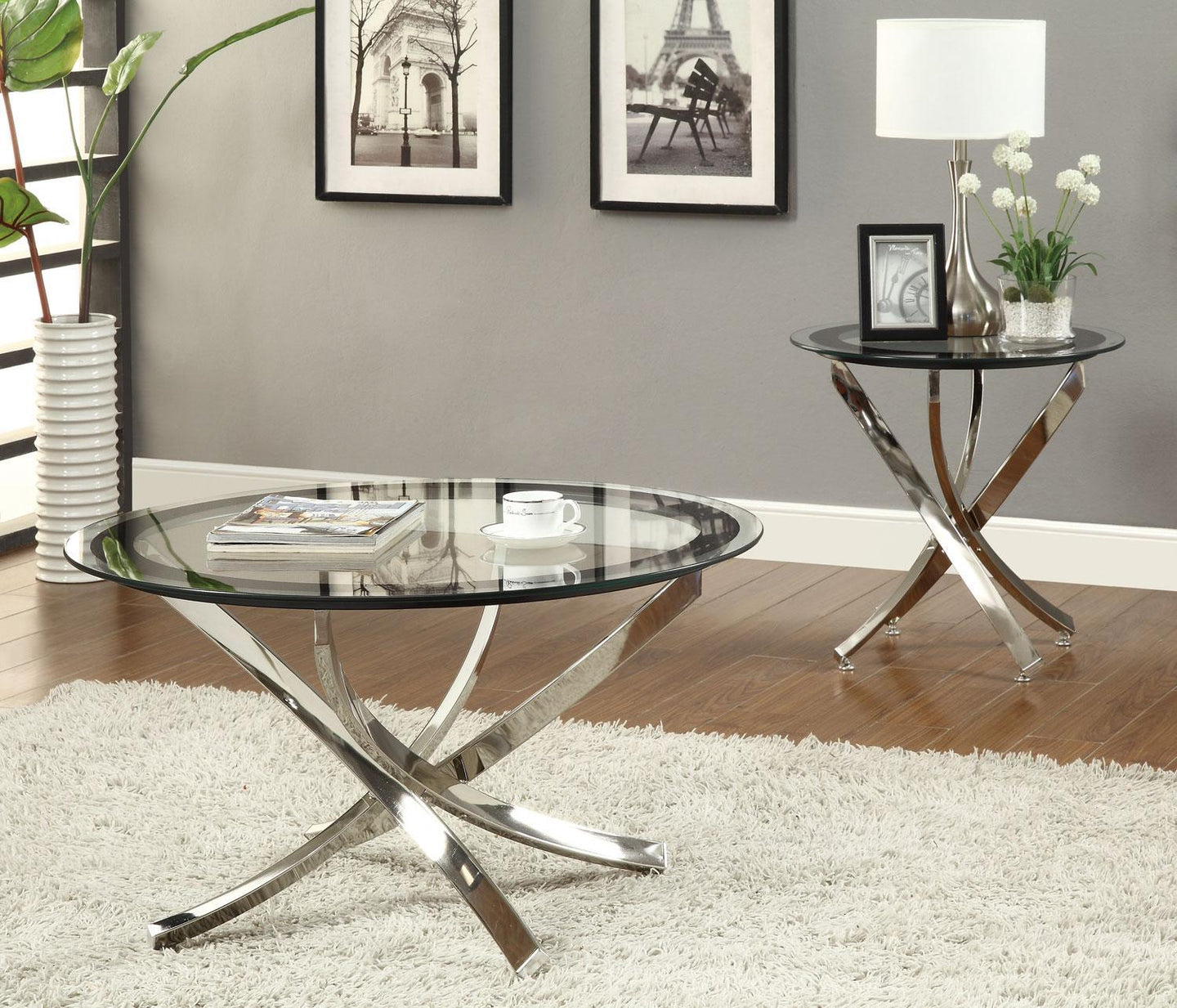Homy Living Chrome Tempered Glass Top Finish 3 Piece Coffee Table Set