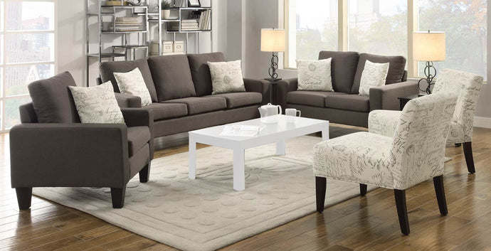 Bachman Grey Microfiber Finish 3 Piece Sofa Set