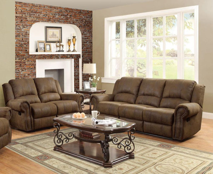 Coaster 2 Piece Sir Rawlinson Brown Sofa and Loveseat
