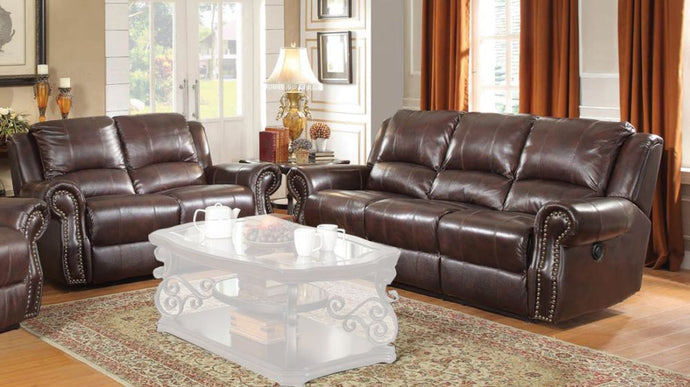 Coaster Sir Rawlinson Brown Leather Finish 2 Piece Reclining Sofa Set