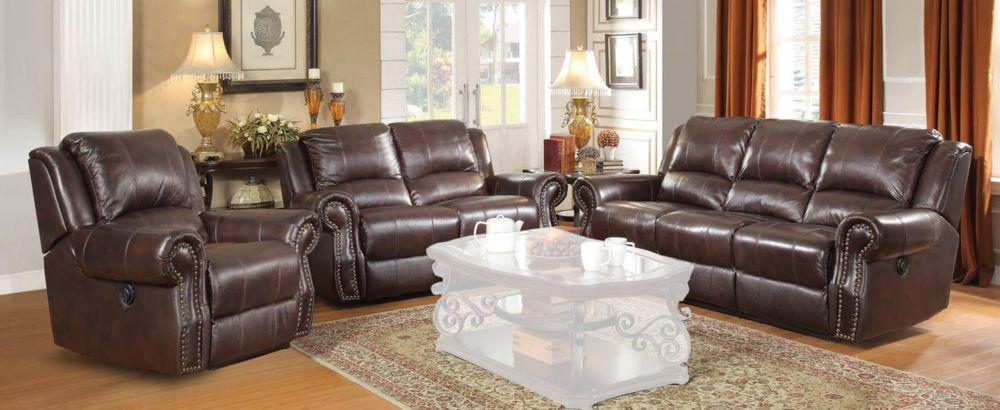Homy Living Sir Rawlinson Brown Leather Finish 3 Piece Reclining Sofa Set