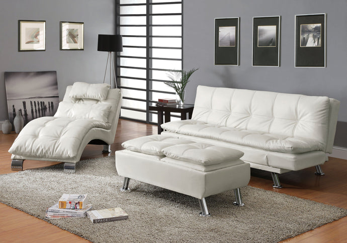 Dilleston White Futon Sleeper Sofa Bed Set