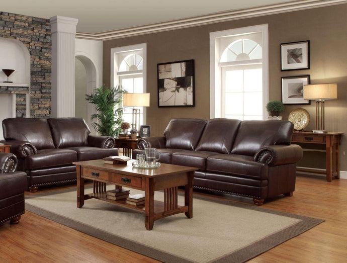 Colton Brown Traditional Sofa and Loveseat