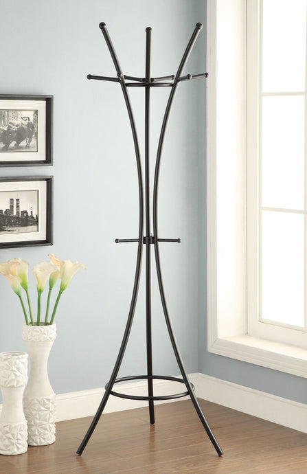 Black Accent Triple Tiered Hooks Coat Rack