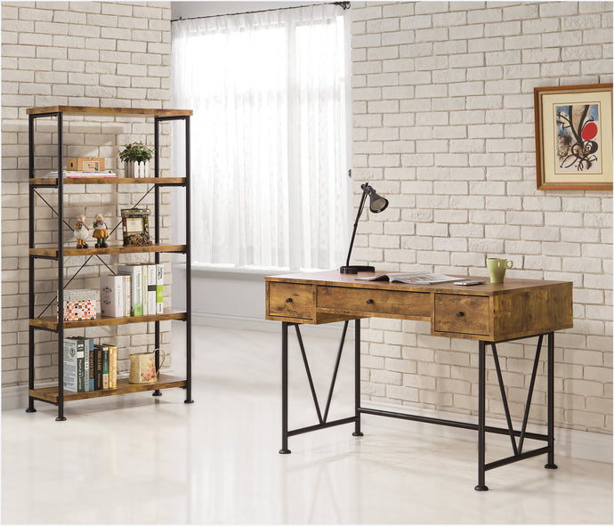 Barritt Antique Wood Metal Writing Desk and Bookcase