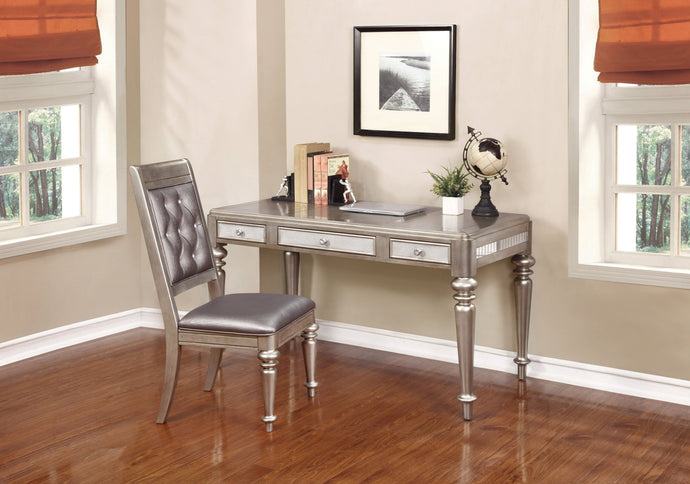 Metallic Platinum Writing Desk and Chair