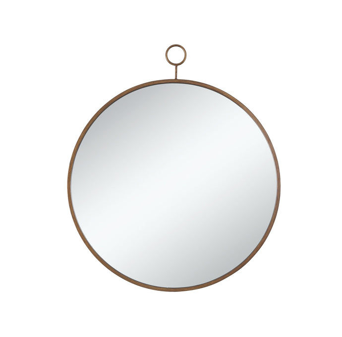 Contemporary Style Gold Metal Round Mirror