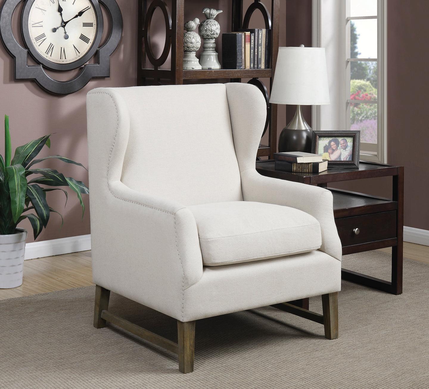 Coaster Contemporary Style Oatmeal Accent Chair