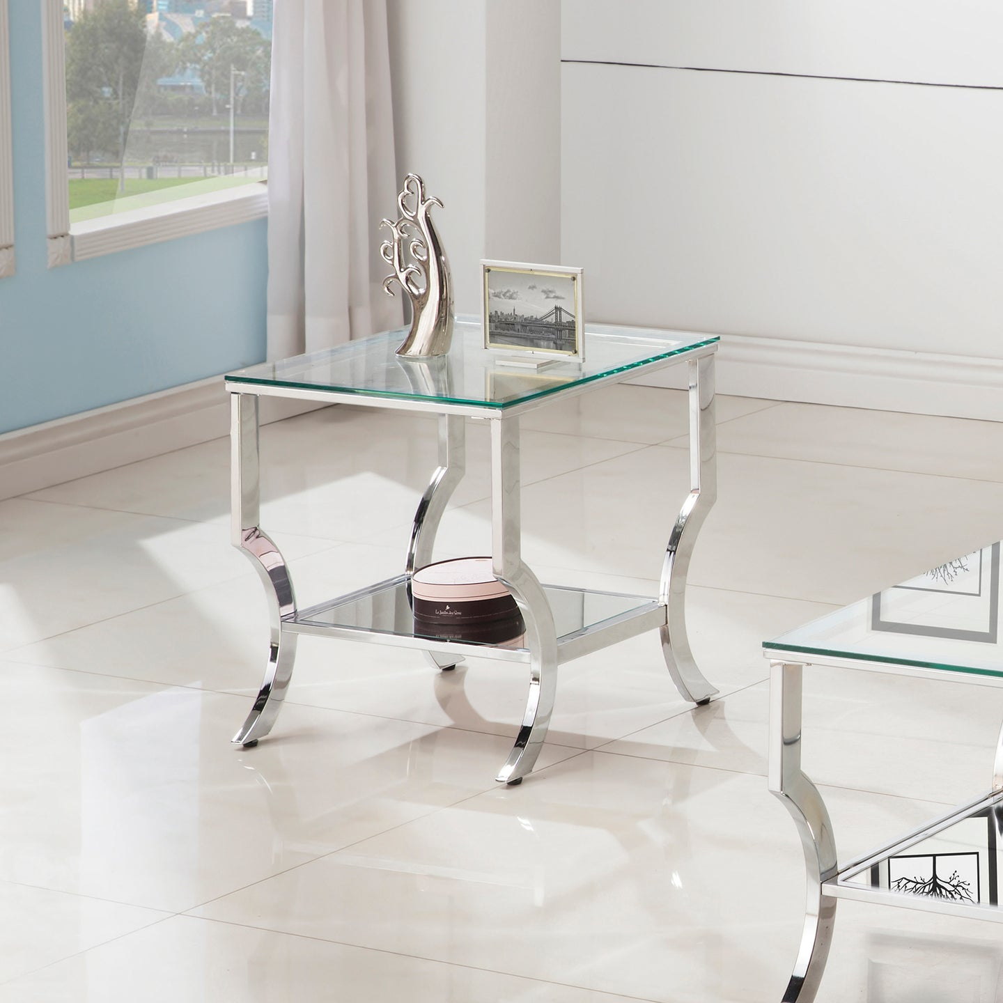 Coaster Chrome and tempered Glass End Table