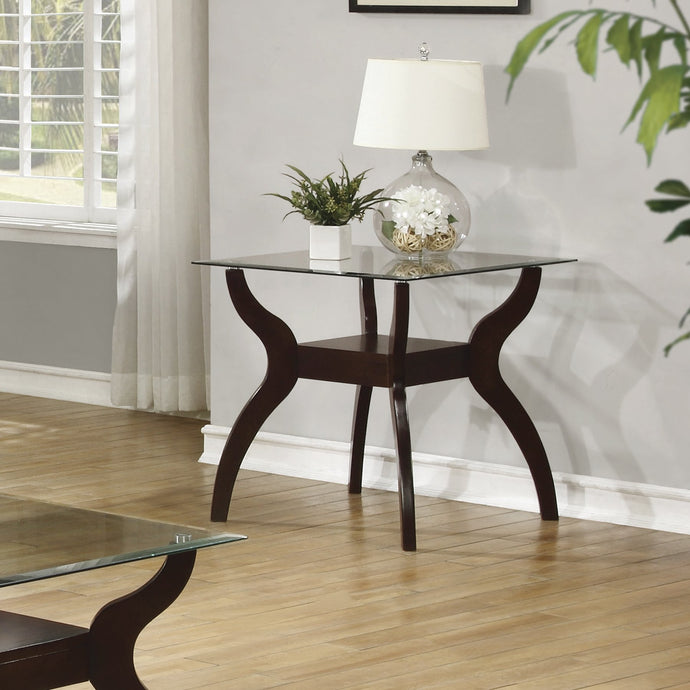 Cappuccino and tempered Glass End Table