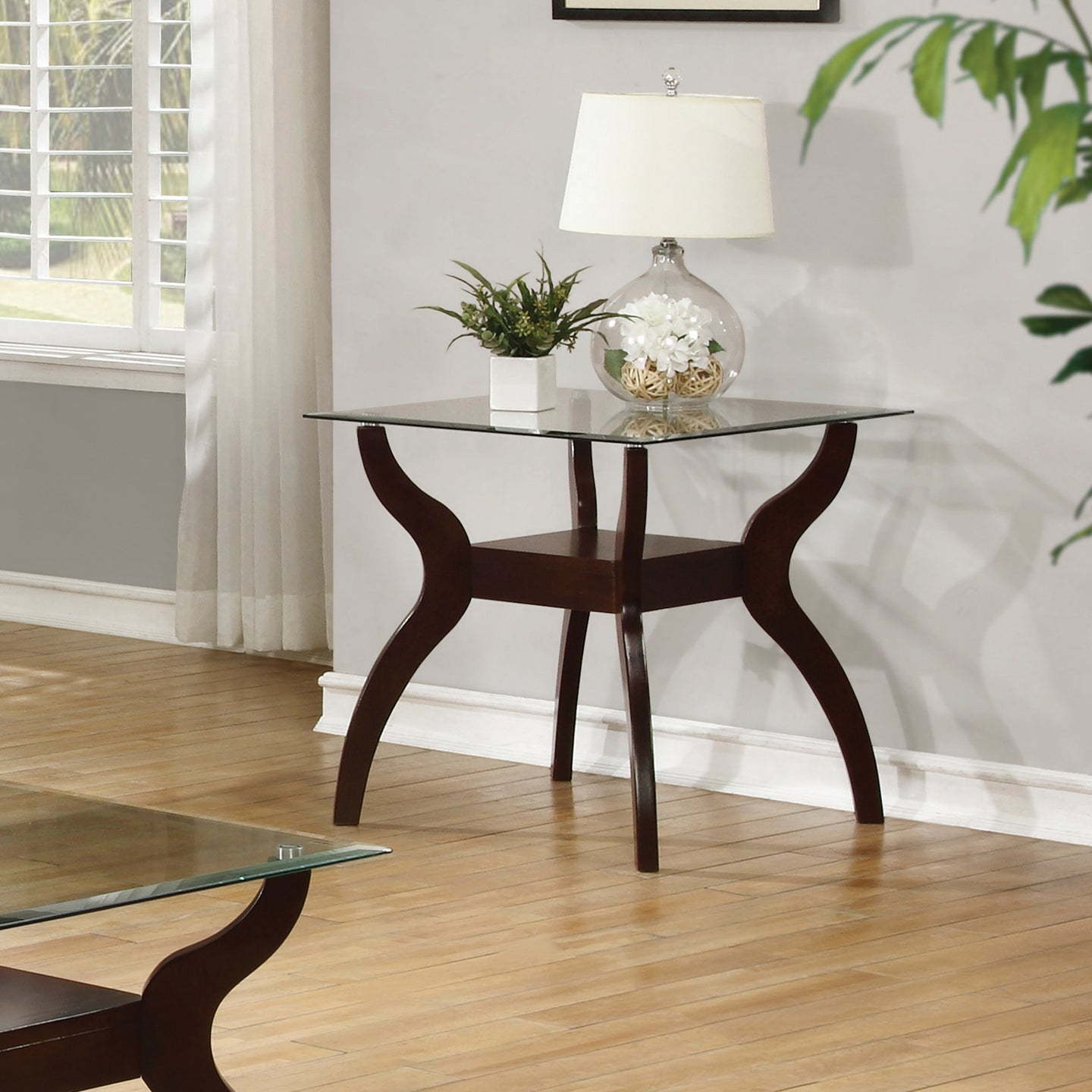 Coaster Cappuccino and tempered Glass End Table