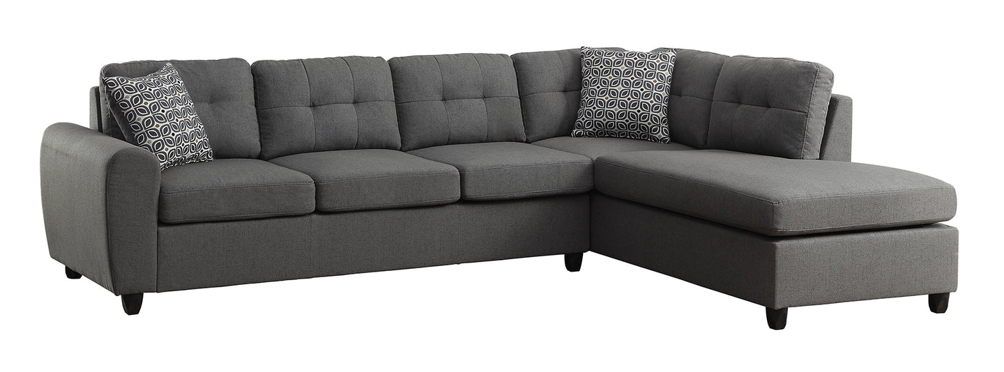 Coaster Stonenesse Crosshatch Steel Grey Reversible Sectional Sofa