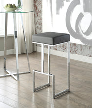 Load image into Gallery viewer, Coaster Grey Leatherette and chrome Base Bar Stool
