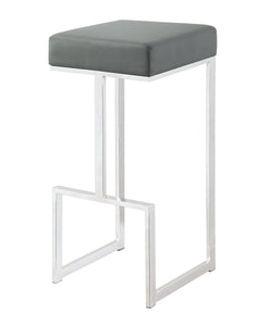 Grey Leatherette and chrome Base Bar Stool