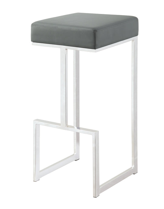 Homy Living Grey Leatherette and chrome Base Bar Stool