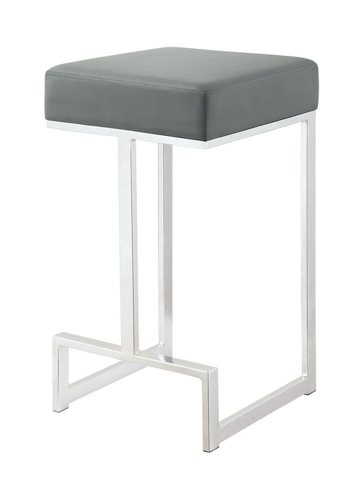 Grey Leatherette and chrome Base Counter Height Stool