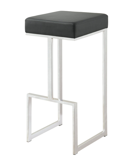 Black Leatherette and chrome Base Bar Stool