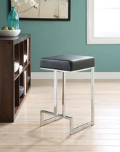 Load image into Gallery viewer, Coaster Black Leatherette and chrome Base Counter Height Stool