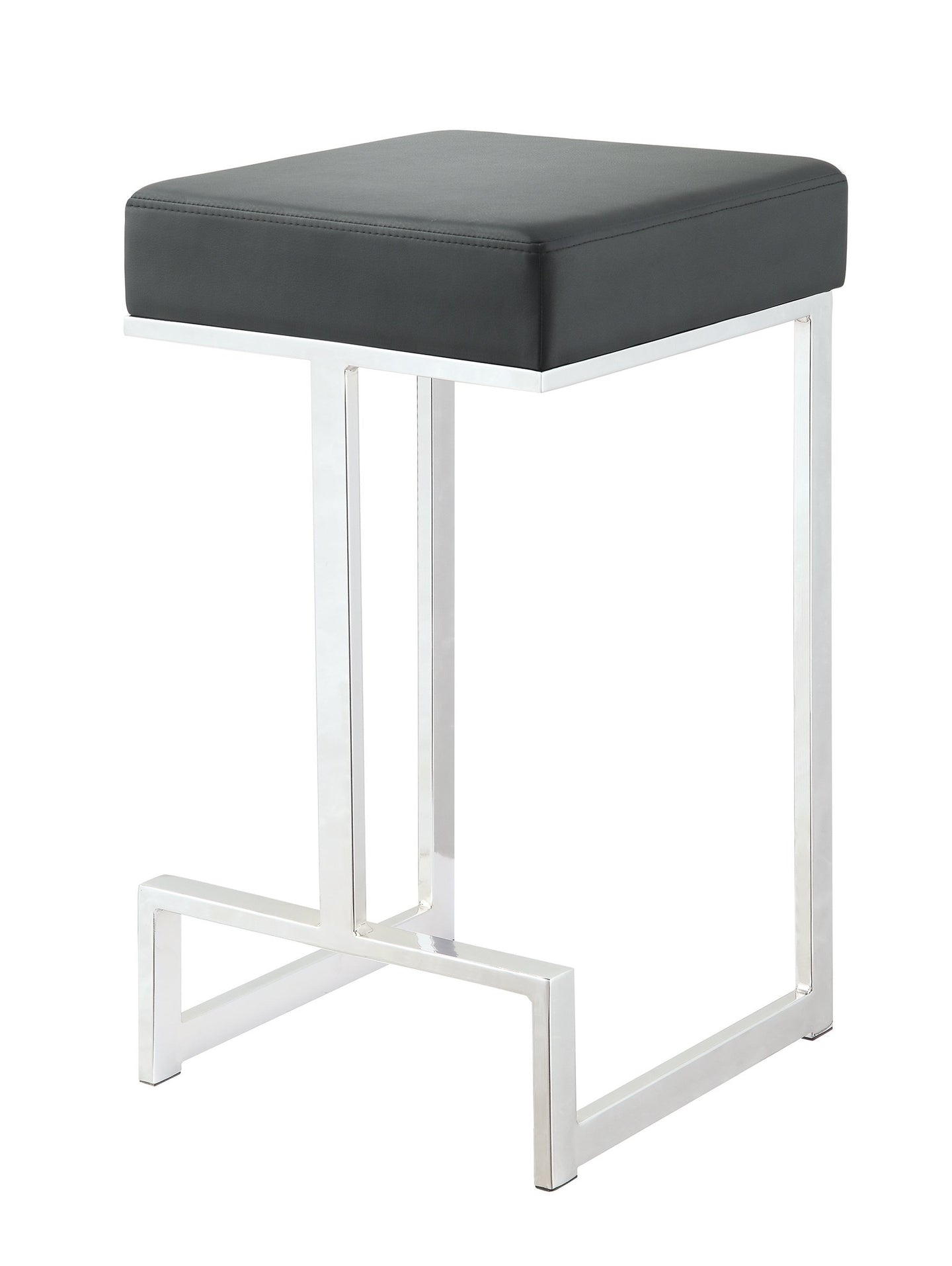 Black Leatherette and chrome Base Counter Height Stool