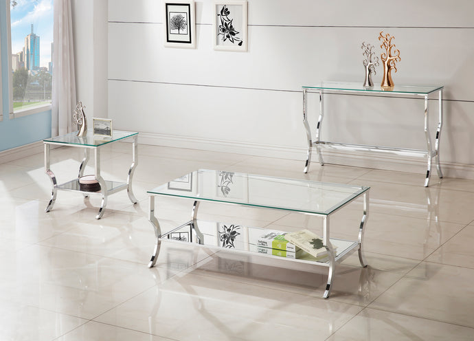 Coaster Chrome and tempered Glass 3 Piece Table Set