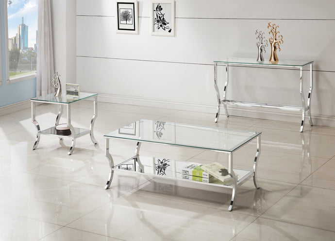 Chrome and tempered Glass Table Set