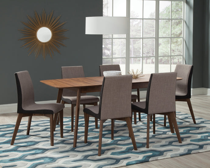 Redbridge Natural Walnut Wood Finish 7 Piece Dining Table Set