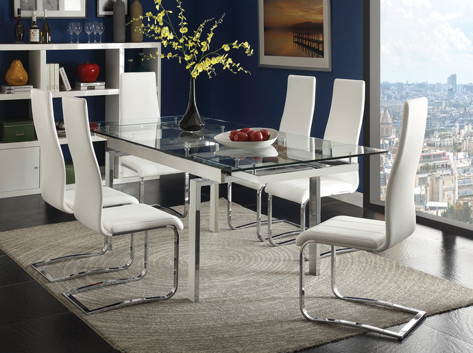 Coaster Wexford 5 Piece Chrome Glass Top Dining Table Set