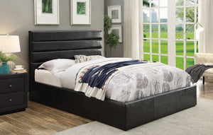 Coaster Riverbend Black Leatherette Queen Platform Bed