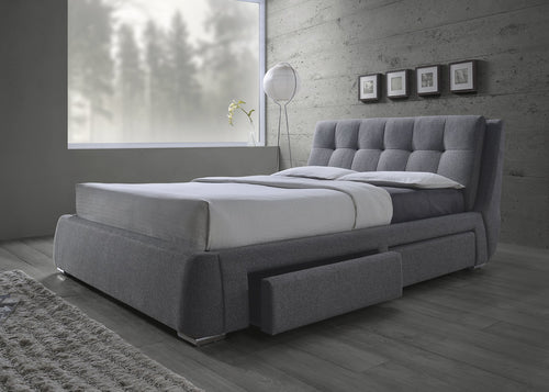 Fenbrook Grey Fabric Queen Storage Bed
