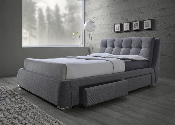 Coaster Fenbrook Grey Fabric Queen Storage Bed