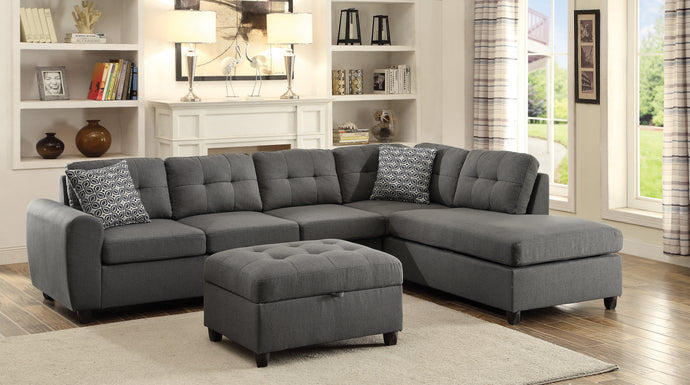 Stonenesse Crosshatch Steel Grey Reversible Sectional and Ottoman